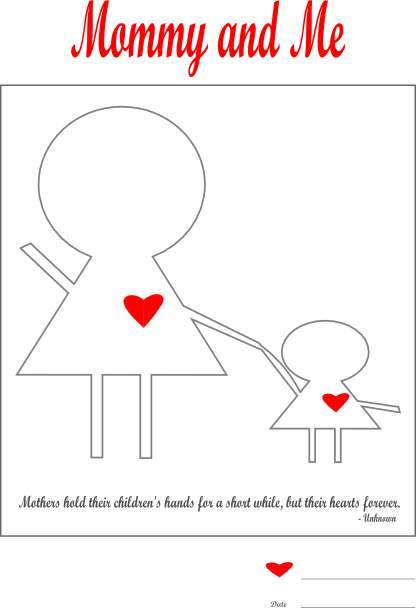 Mommy and Me | Mother's Day Worksheet | Mother Day | Free Printable | Draw | Paper and the Pea