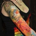 Realistic Titmouse tattoo sleeve