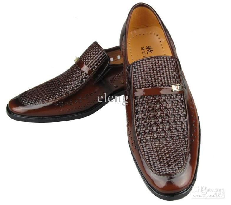 NEW groom dress shoes Cool men's shoes Hollow out breathable ...
