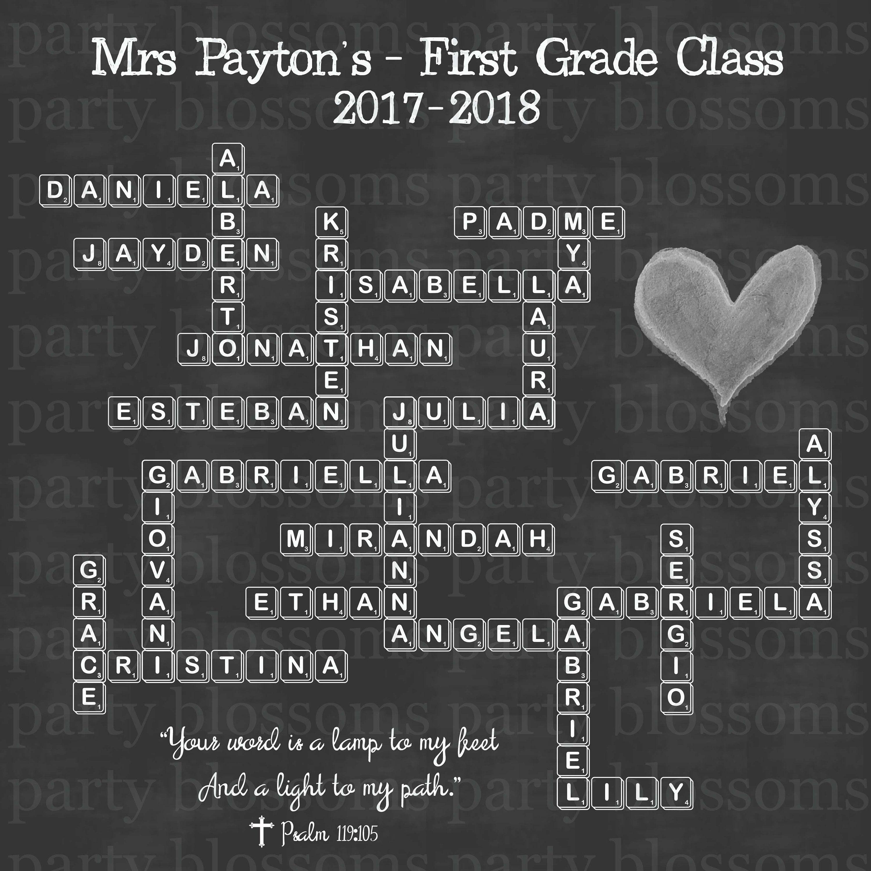 Fully Customizable Unique Crossword Puzzle Teacher S Gift Etsy Teacher Gifts Crossword Gift Teacher Appreciation