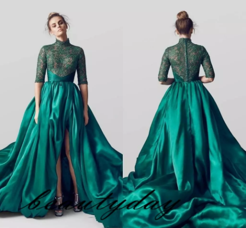 Emerald Green Evening Dresses Arabic High Neck Split Half Long Sleeves Lace  Pleats Formal Prom Dress Gowns Celebrity Party Dress aeed3ec6c522