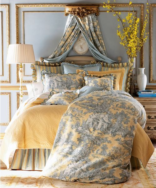 Toile Bedding Set Lutece Cypress Linens With Stripes And Checks