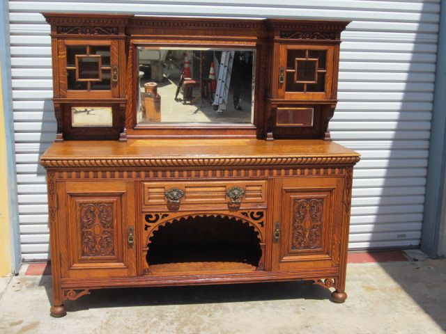 English Antique Sideboard Server Cabinet Hutch Cupboard Antique Furniture - English Antique Sideboard Server Cabinet Hutch Cupboard Antique