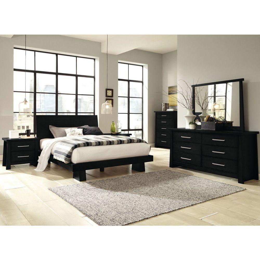 Zen Bedroom - Bed, Dresser & Mirror - Queen - Black ...