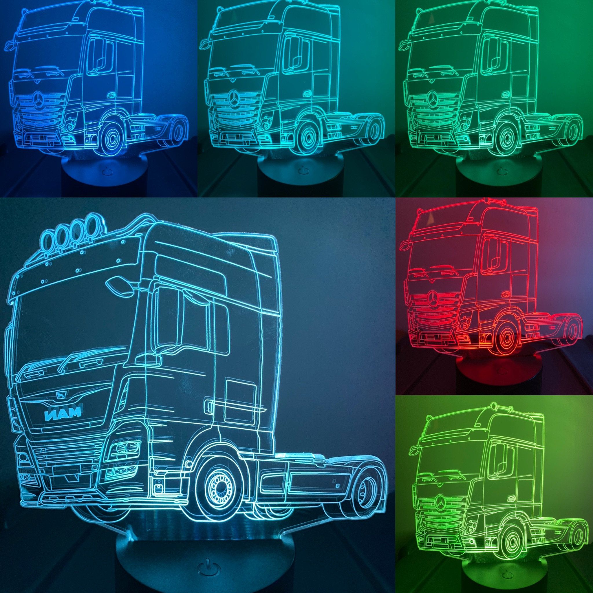Man Truck 3d Illusion 7 Colors Changing Led Lamp With Remote Etsy Happy Birthday Man Man Birthday 21st Birthday Captions