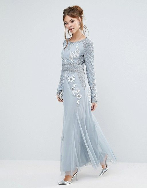 48c24de8138 Frock and Frill Long Sleeved Embellished Maxi Dress