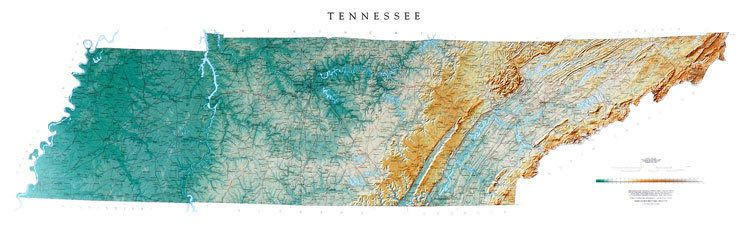 Tennessee Topographic Wall Map By Raven Maps 21 X 65 Sisters