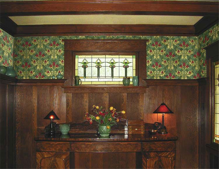 Arts And Crafts Style Living Room: Dining Room Finished With Craftsman Reproduction Wallpaper