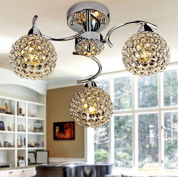 Led crystal ceiling light for home modern k9 e14 living room bedroom lamp shade decoration 90 240v frhc 100 home decor luminaire family room ideas