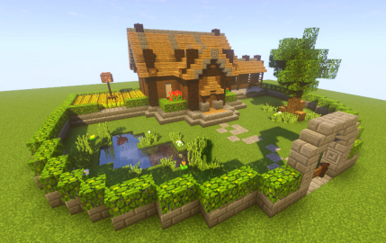 Village House with Farm Minecraft architecture
