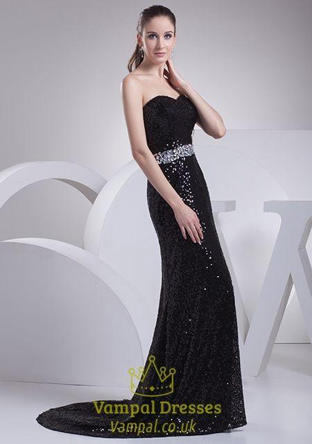 b3474fa4c6 Black Sequin Mermaid Prom Dress