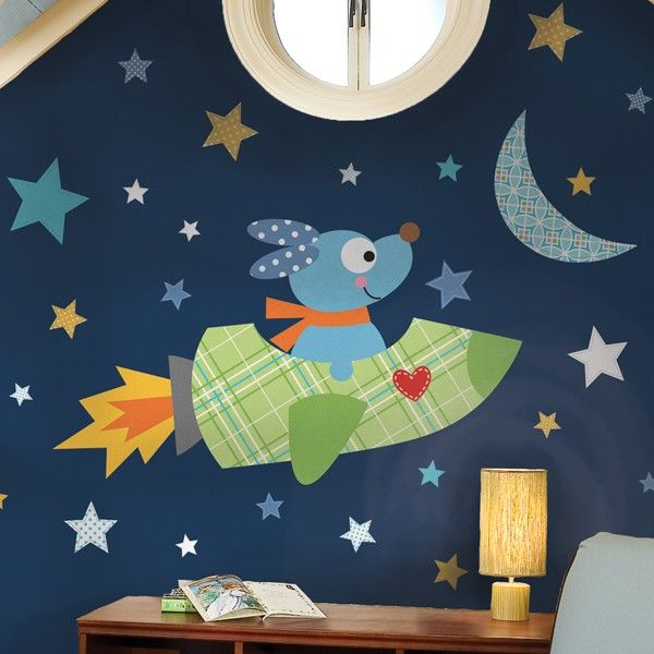 New giant rocket dog wall decals puppy stickers baby nursery outer space decor