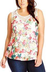 City Chic 'Pretty Floral' Lace Inset Top (Plus Size)
