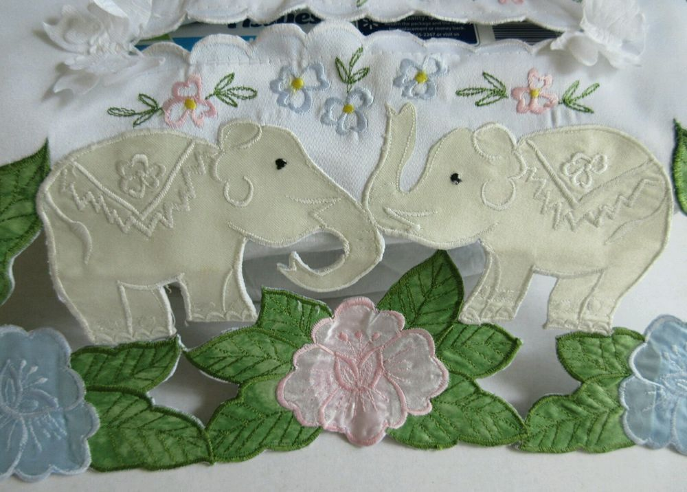 Vintage Style Applique Tissue Box Cover Elephants & Floral Motif ~ Free Shipping