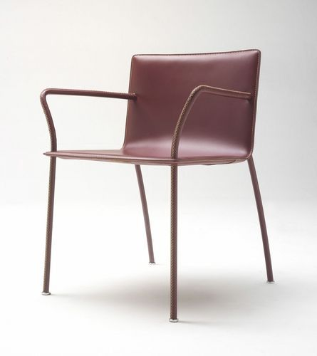 Contemporary chair / leather / steel / for professional