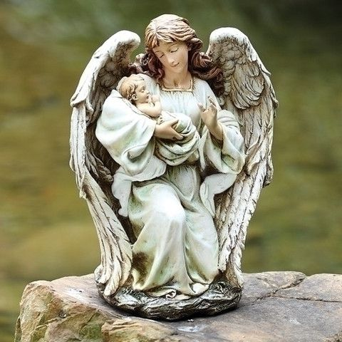 Charming Guardian Angel Holding Baby Beautiful Memorial Garden Statue