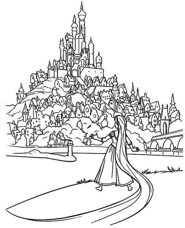Coloriage Reine Des Neiges Chateau.Coloriage Chateau Raiponce Enfants Tangled Coloring Pages
