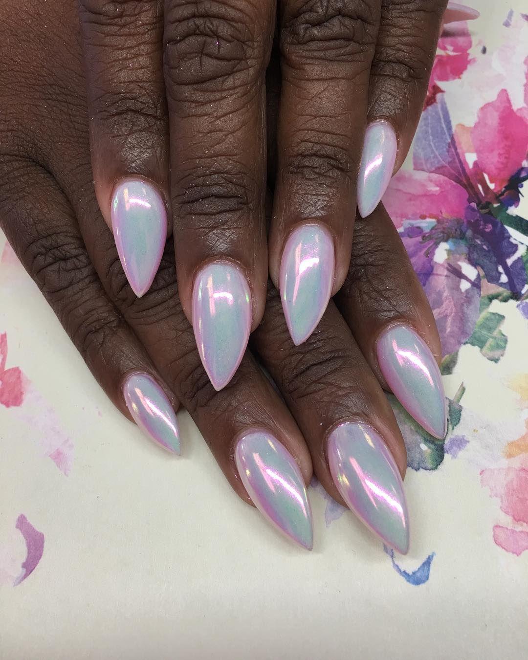Rise And Shine Like The Unicorn Chrome Gelnails Swarovski Claws Nailart Nails Getnailed Swarovskinails Acrylics Nailitmag Modernnails Love Gelnails