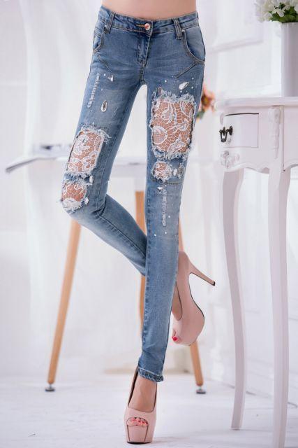 da967fae6 como customizar calça jeans exemplo renda