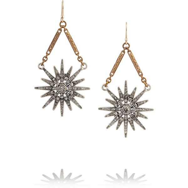Lulu Frost Radiant gold-plated crystal earrings found on Polyvore