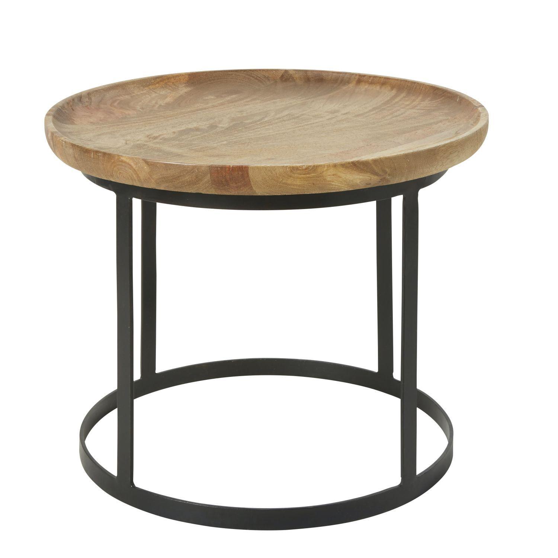 Bout De Canape En Manguier Et Metal Noir Bout De Canape Table De Chevet Manguier