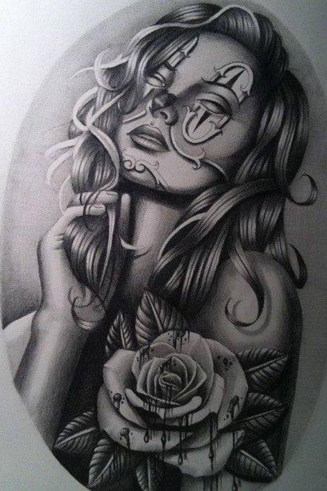 Chola Girl Drawing : chola, drawing, Jimmy, Hahne, Chicano, Drawings,
