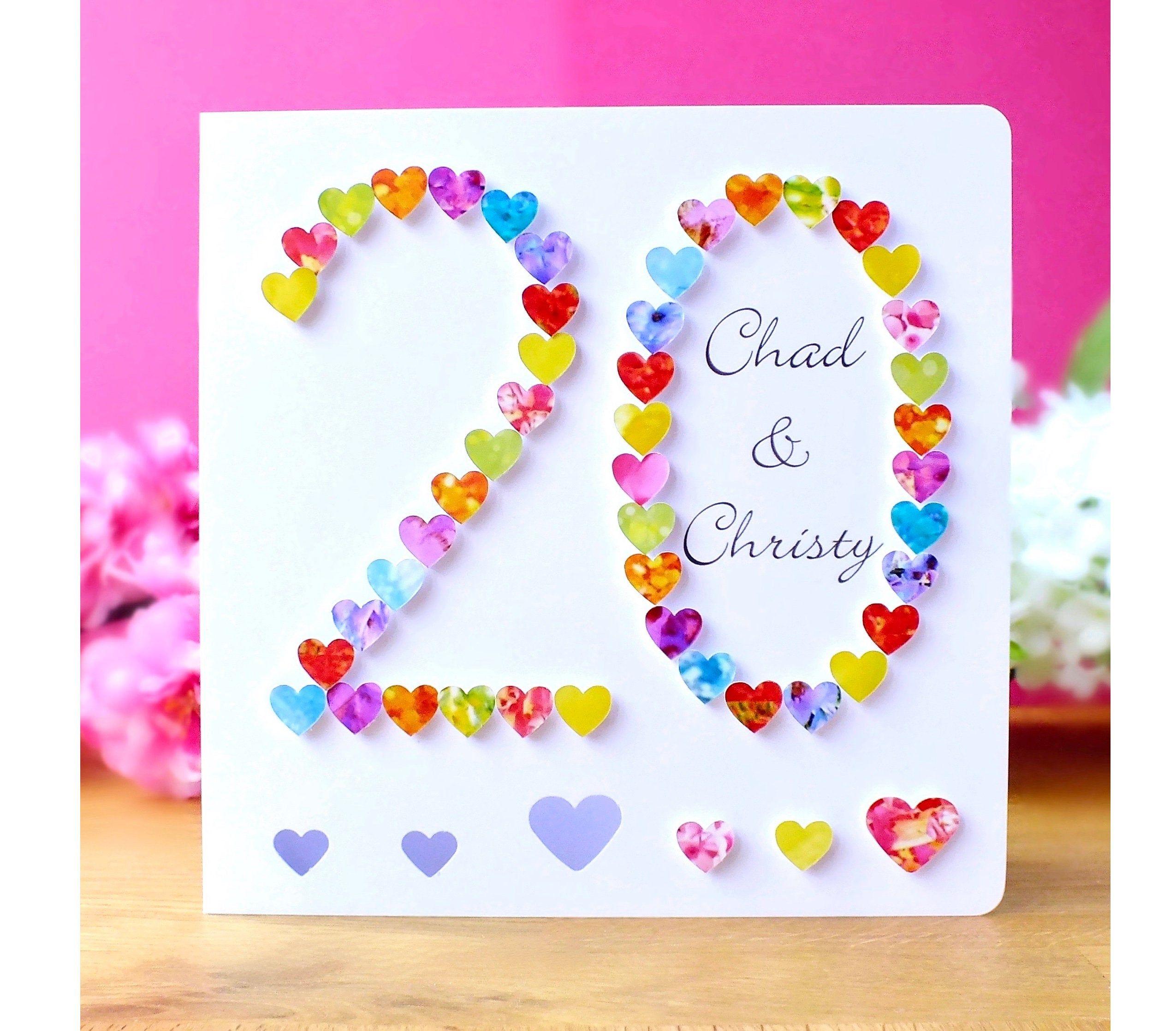 Handmade 20th Wedding Anniversary Card 20th Anniversary Etsy Wedding Anniversary Cards 20 Wedding Anniversary 20th Anniversary Cards