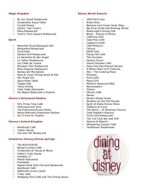 Disney Dining Table Service Checklist Disney Dining Disney