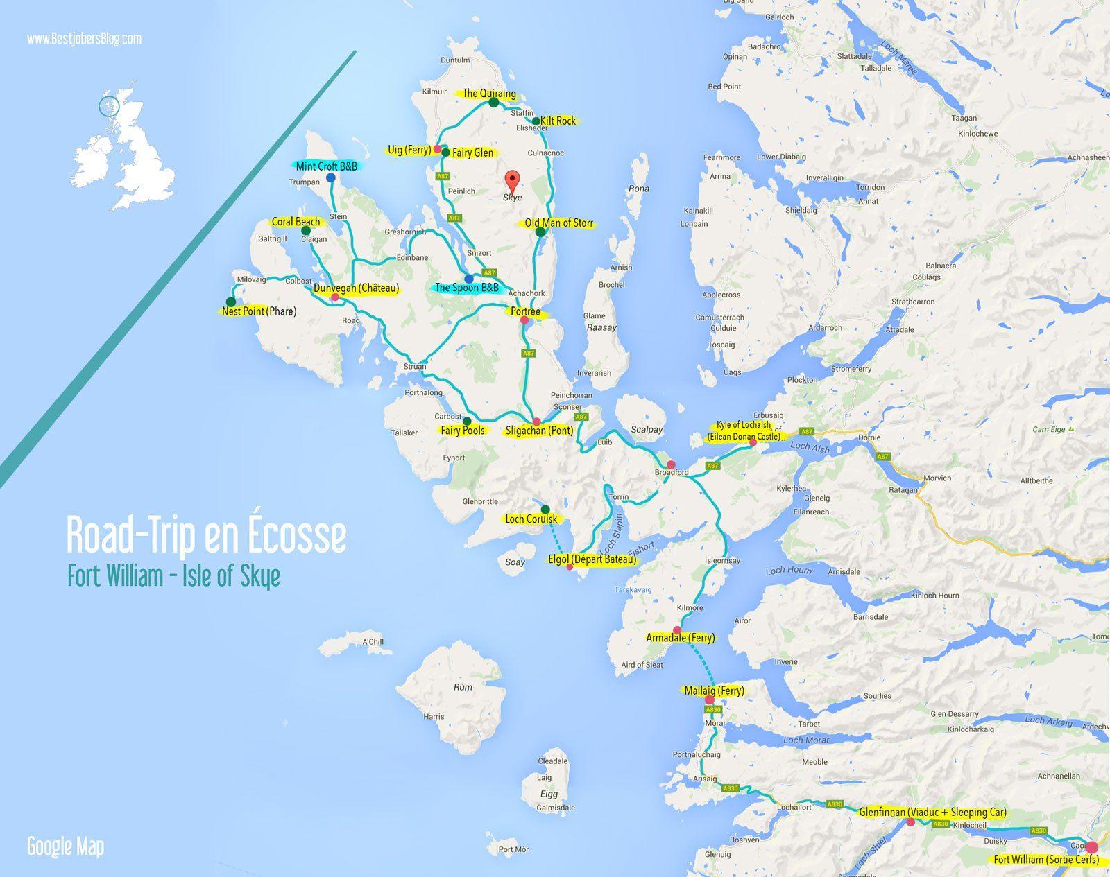 Road trip ecosse ile de skye carte | Simply Scotland | Pinterest