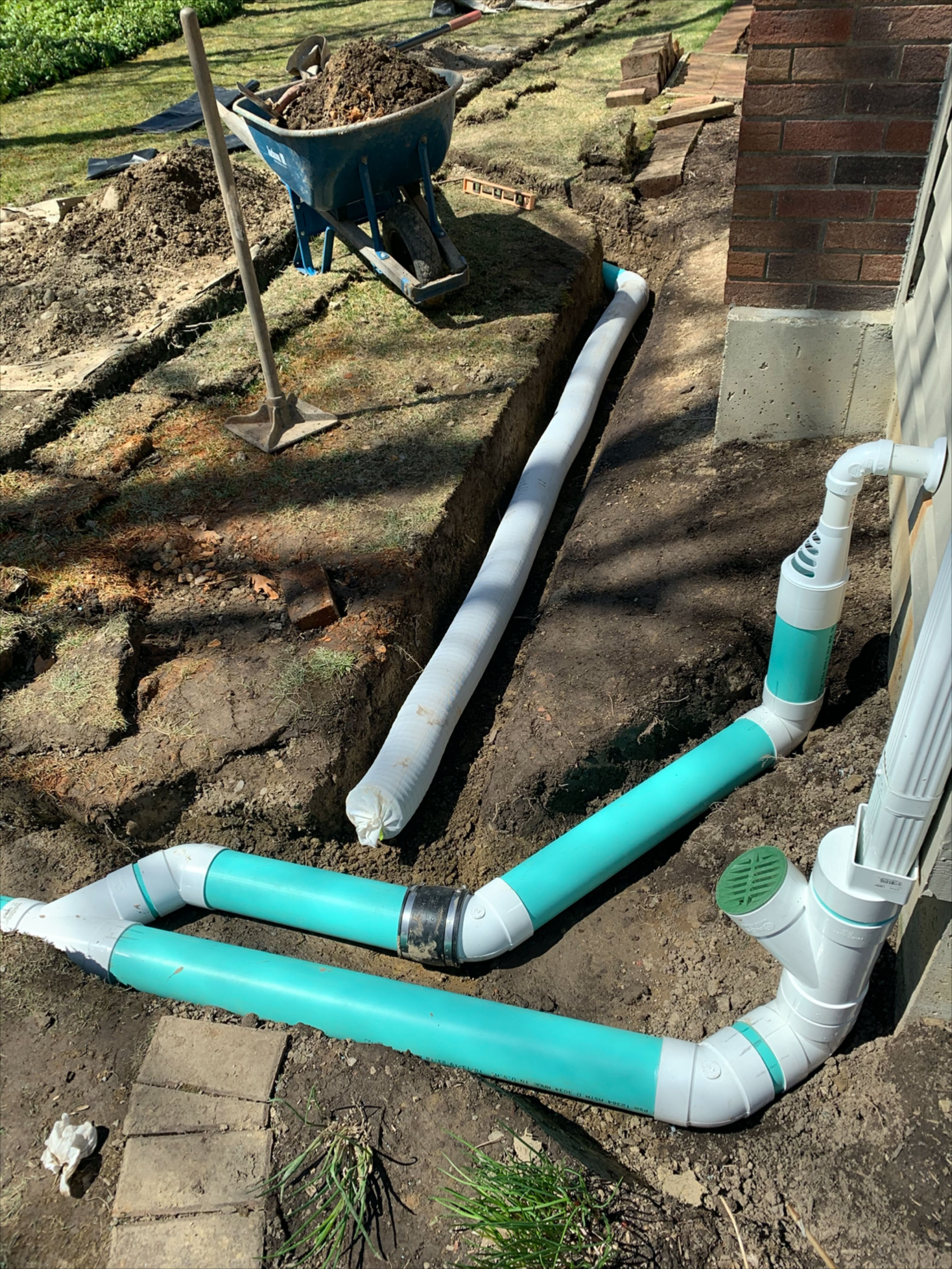 Foundation Water Drainage System Install With French Drain Sump Pump Discharge Gutter Downspout In 2020 Underground Drainage Backyard Drainage Downspout Drainage
