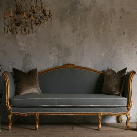 Vintage Daybed Stormy Blue In Gold Gilt Frame Http://www.thebellacottage.