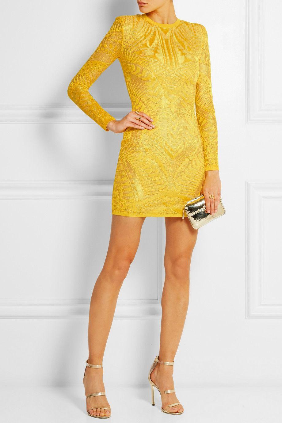 Balmain|Crochet-knit mini dress|NET-A-PORTER.COM