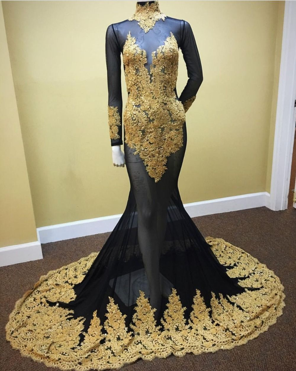 Long Sleeves Black Mermaid Prom Dress With Gold My Style