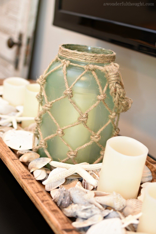 DIY Sea Glass Rope Lantern | Glass, Pickle jars and Paper towel rolls