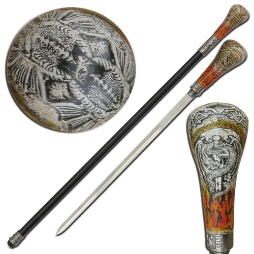 Are you tired of the same old boring sword cane? Swordsswords have completed a newly designed Acrylic Sword Cane. This Sword Cane features a beautiful medieval design from top to bottom. #medievalflameprotectordragonacrylicswordcane