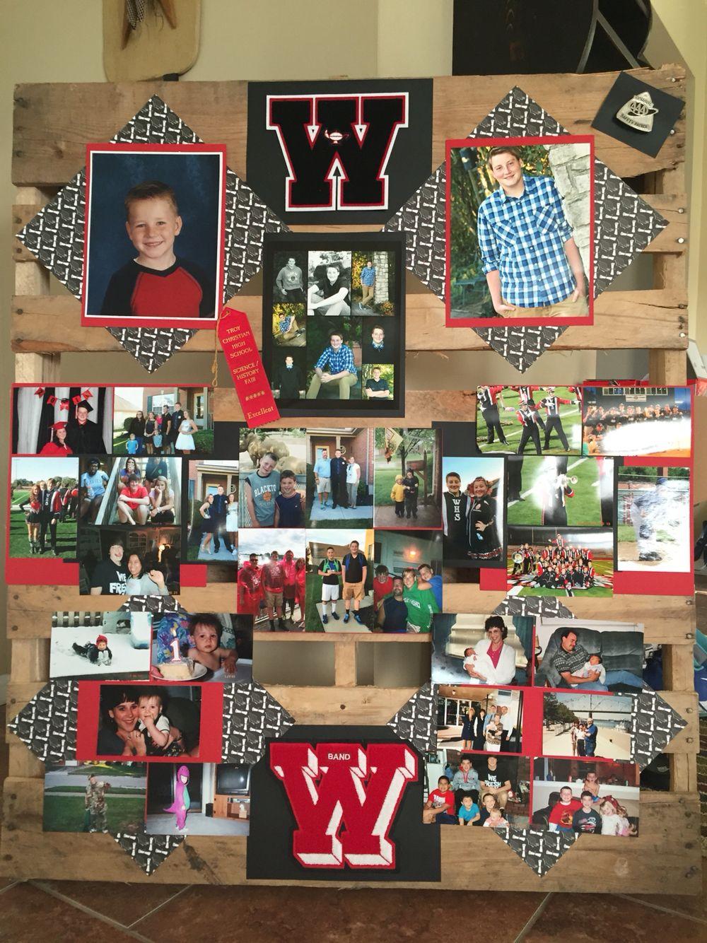 Pallet graduation photo display | Graduation party picture ...