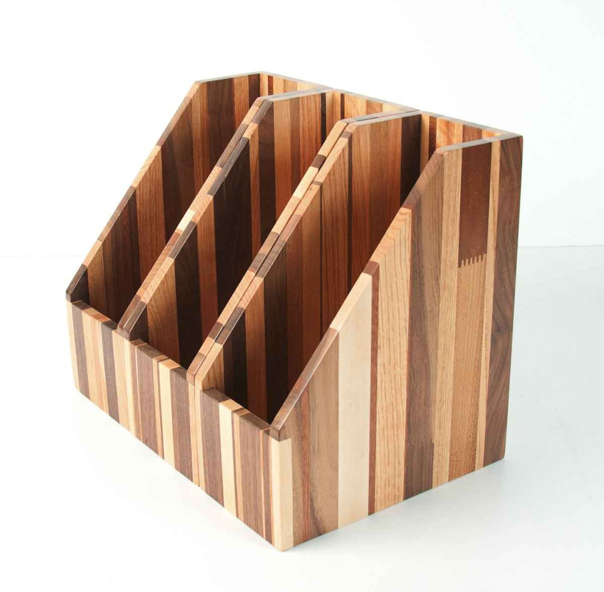 I love the look of this Upcycled Reclaimed Recyled Wood File Holder  Magazine Holder from Mitztakahashi on Etsy