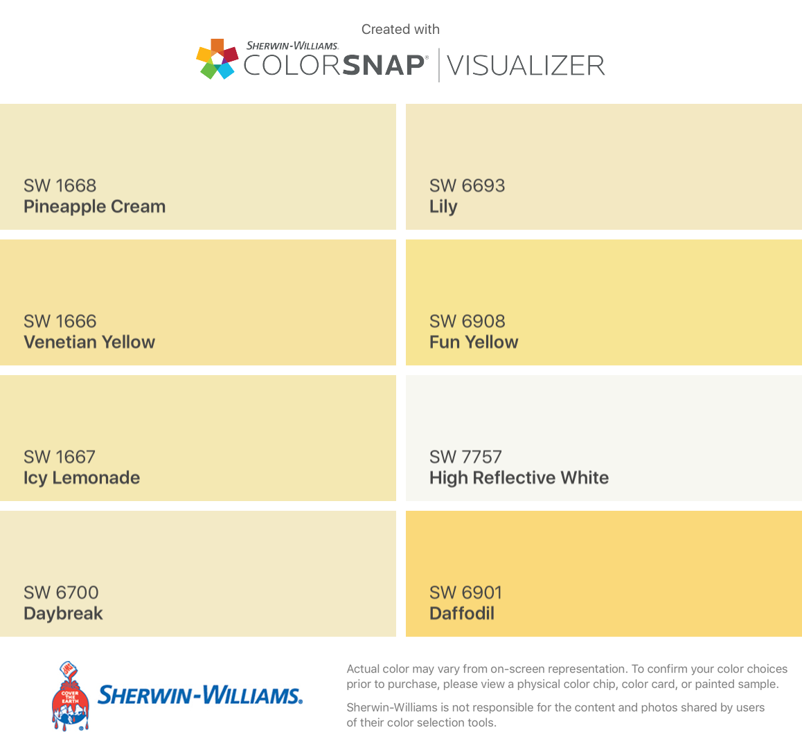 I Found These Colors With Colorsnap Visualizer For Iphone By Sherwin Williams Pineap Sherwin Williams White Sherwin Williams Paint Colors Yellow Paint Colors