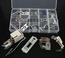 Um conjunto de 18 máquinas de costura doméstica Calcador Pés Fit Universal