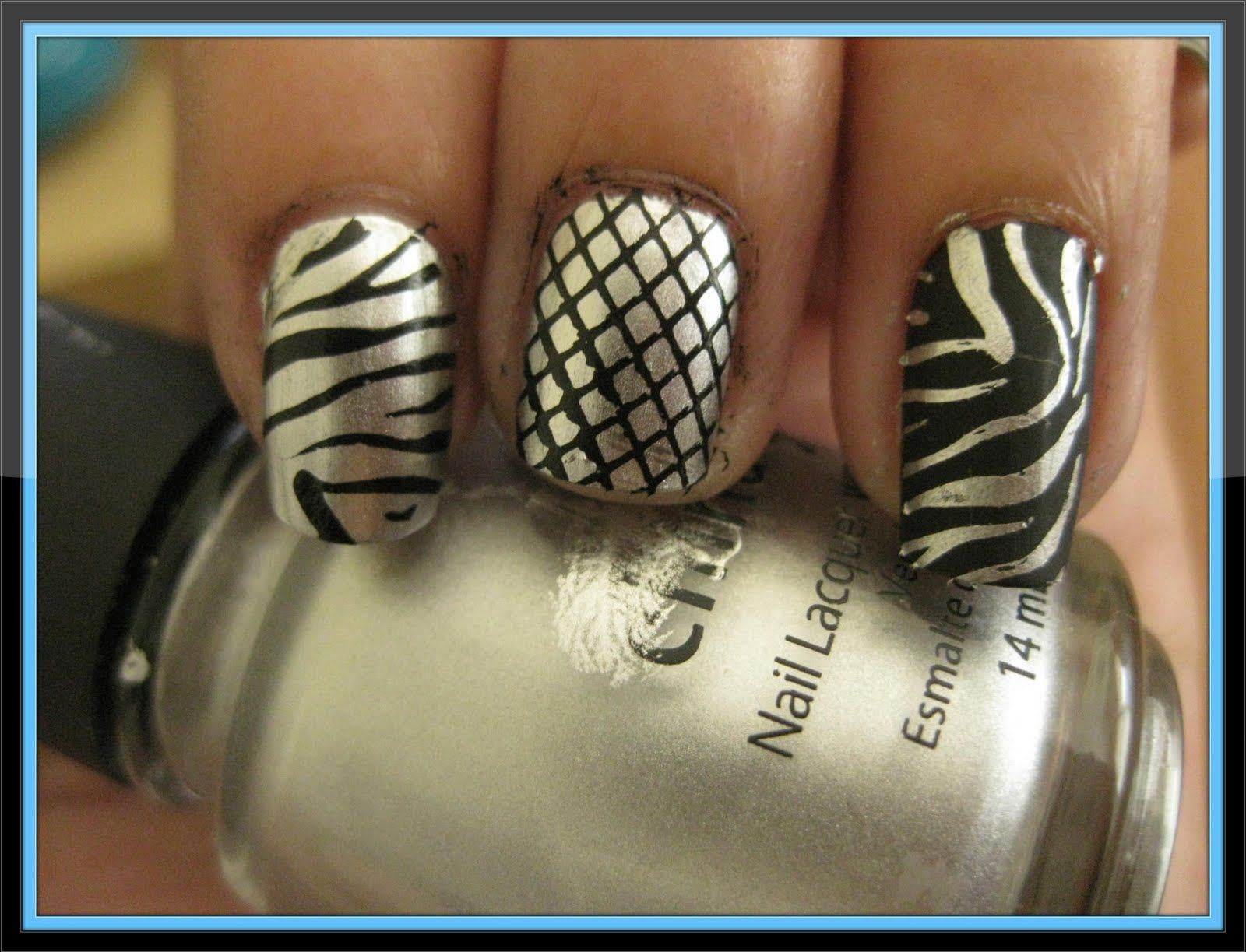 From Left To Right Cg Millennium With Black Zebra Cg Millennium With Black Fishnet M57 Orly Matte Vinyl With Cg Millennium Nail Designs Nail Polish Manicure