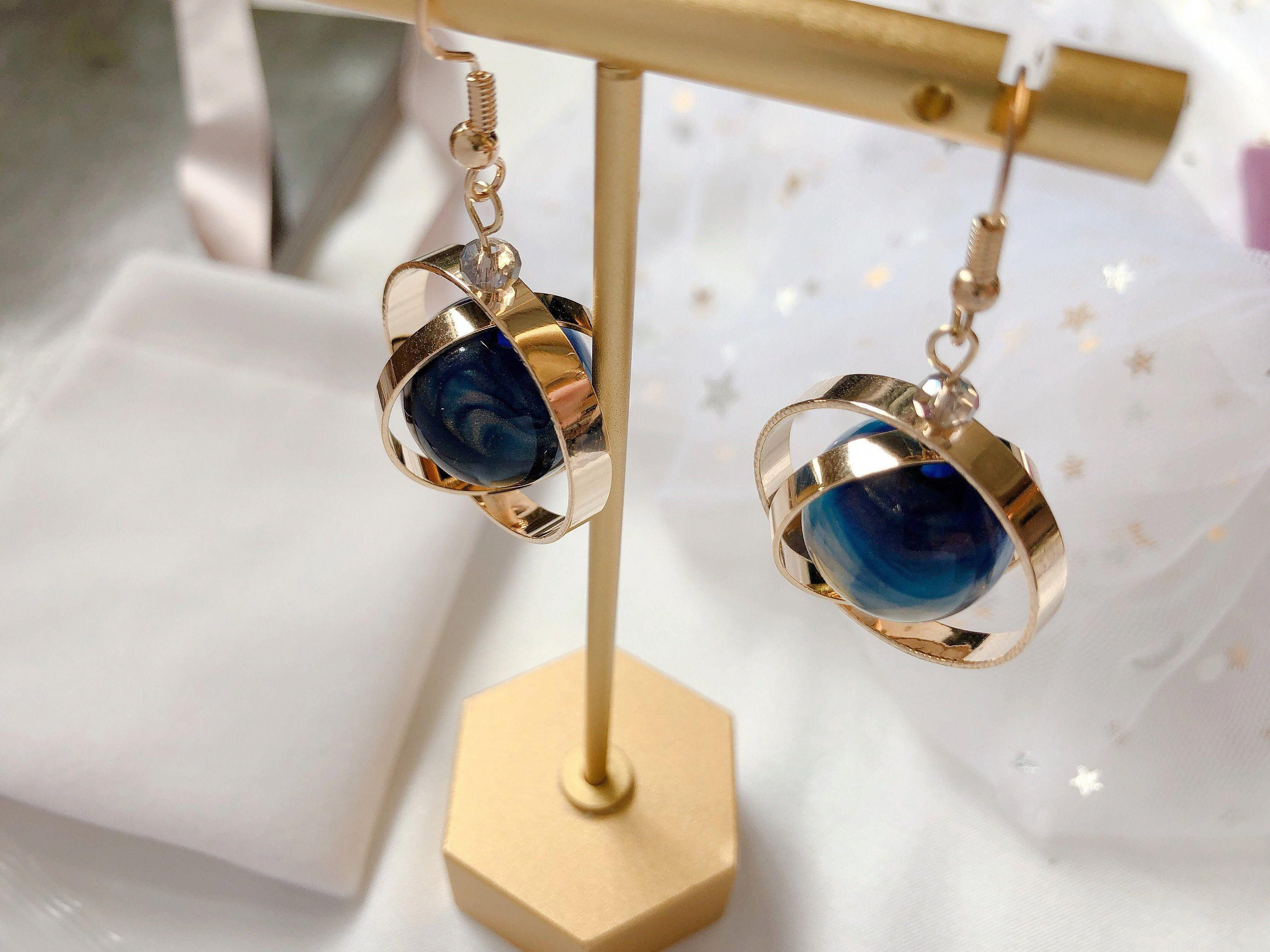 Astronomy earrings, spinner, space accessories, galaxy and universe, celestial jewelry, space accessories, gold drop earrings blue ball #circle #earrings #brass #partyearring #galaxy #astronomyjewelry