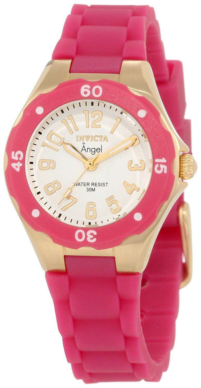 8206f167cba1 Amazon.com  Invicta Women s 1619 Angel White Dial Plum Silicone Watch   Invicta  Watches