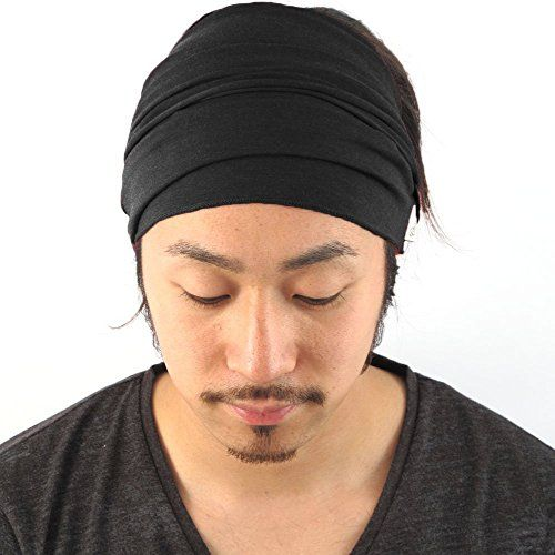 Mens Elastic Bandana Headband Japanese Long Hair Dreads Head wrap ... 4687177d317