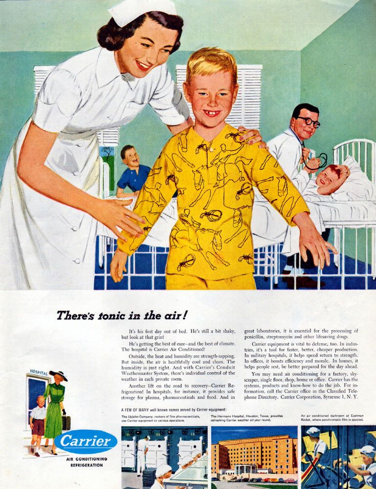 1951 Carrier Air Conditioning Ad Healthy Air