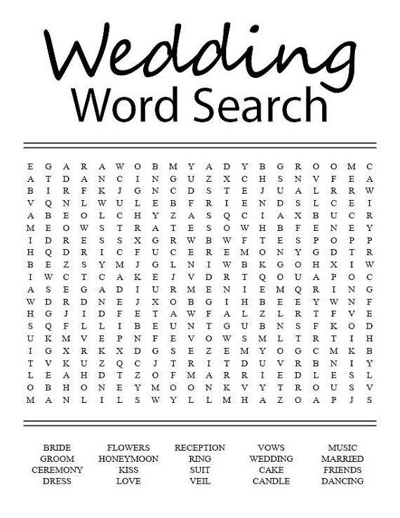 Wedding Word Search | Cute wedding ideas | Wedding activities
