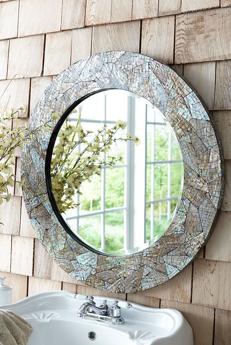 Crackled Mother Of Pearl 31 Round Mirror Mirror Decor Round Mirrors Glass Decor