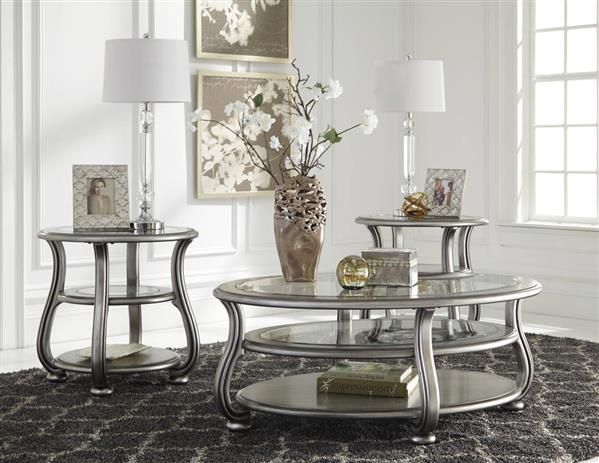 coralayne silver metal glass 3pc rectangle round coffee table set living room family room. Black Bedroom Furniture Sets. Home Design Ideas