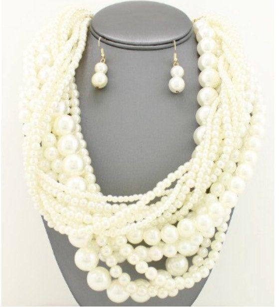 Costume Jewelry  Multi-Strand Pearl by KeishasAccessoryShop