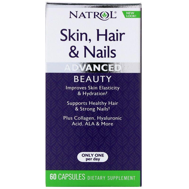Natrol البشرة والشعر والأظافر تركيبة متطورة للجمال 60 كبسولة Improve Skin Elasticity Hair And Nails Advanced Beauty