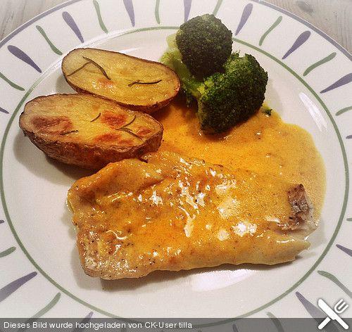 Fisch in Orangen - Sahne - Sauce
